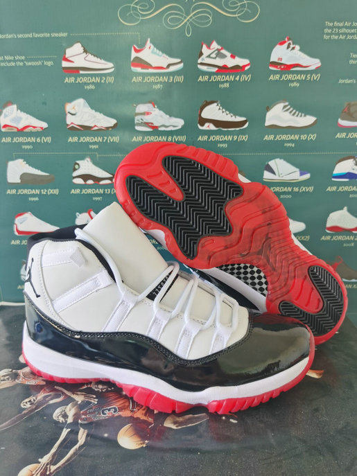 2021 Cheap Nike Air Jordan 11 White Red Black