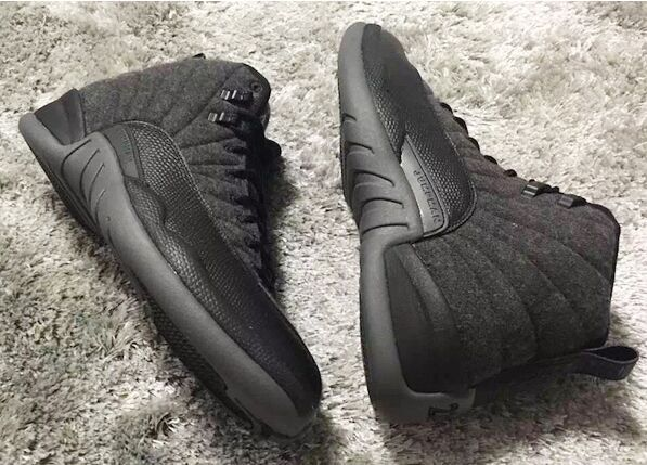 852627-003 New Air Jordan 12 Wool Grey Silver Black For Sale