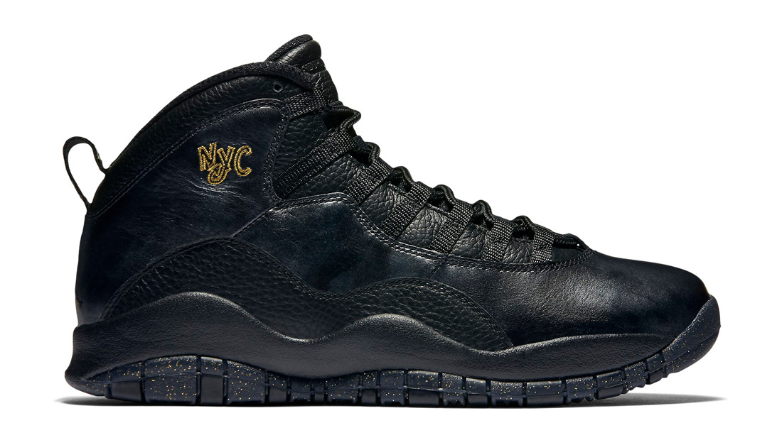Air Jordan 10 NYC Black Black-Dark Grey-Metallic Gold