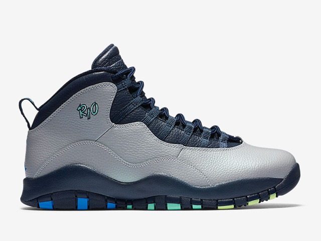 Air Jordan 10 Rio Wolf Grey Photo Blue-Obsidian-Green Glow