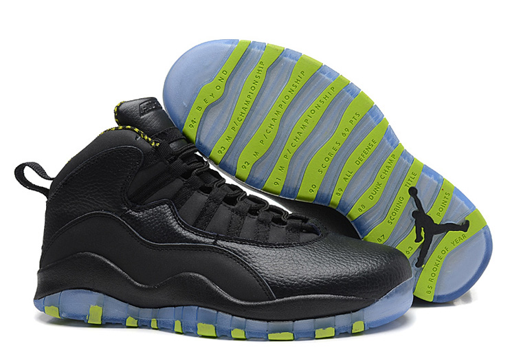 Air Jordans 10 Retro Black-Grey Venom Green For Sale