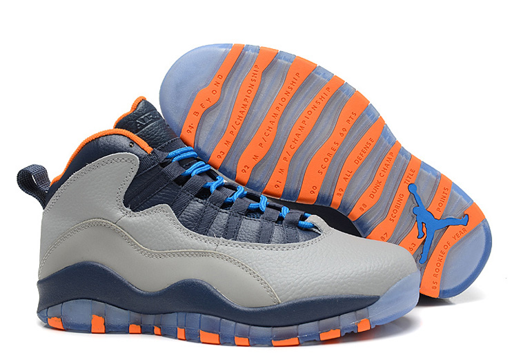 Air Jordans 10 Retro Bobcats Wolf Grey New Slate-Atomic Orange-Dark Powder Blue