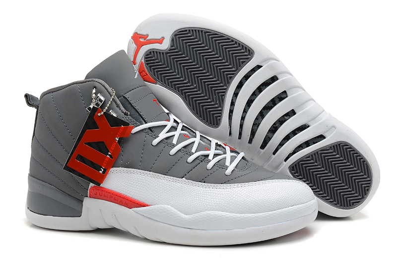 Air Jordans 12 Retro Cool Grey Total Orange-White For Sale