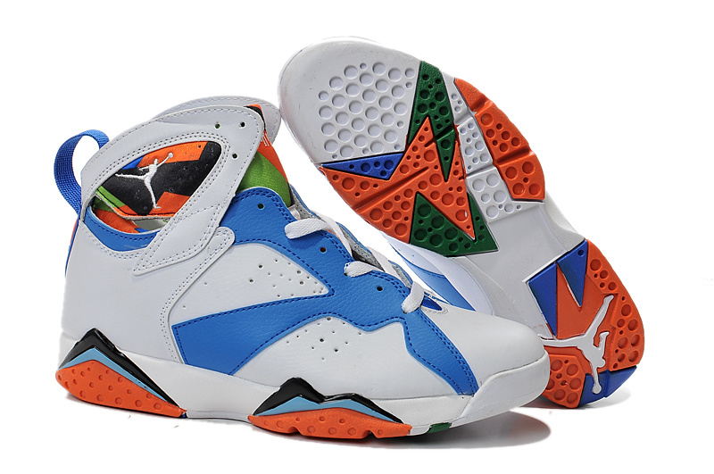 Air Jordans 7 White Blue Black Orange For Sale