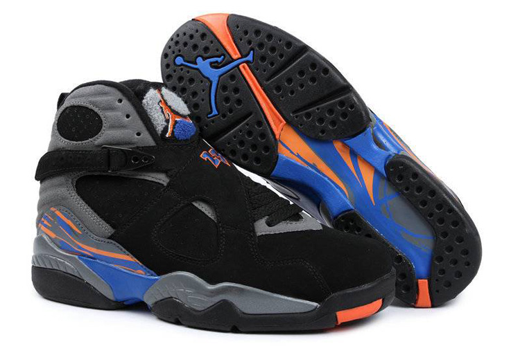Air Jordans 8 Retro Black Bright Citrus-Cool Grey-Deep Royal Blue For Sale