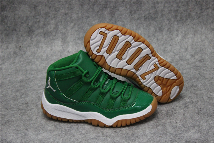 Cheap Air Jordan 11 Green White Kids Size For Sale Online