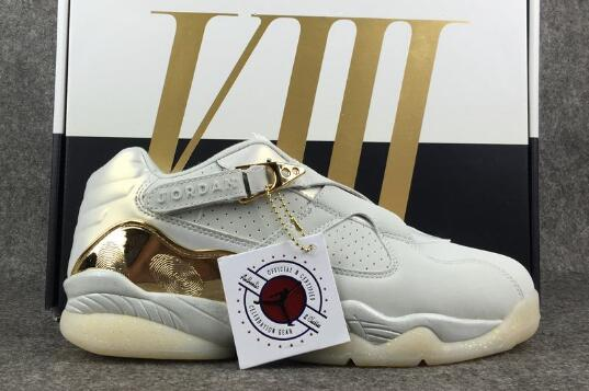 Cheap Air Jordan 8 Low Champagne Light Bone Metallic Gold-White For Sale