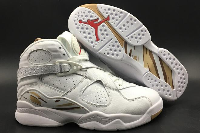 Cheap Air Jordan 8 OVO White Metallic Gold-Varsity Red-Blur For Sale