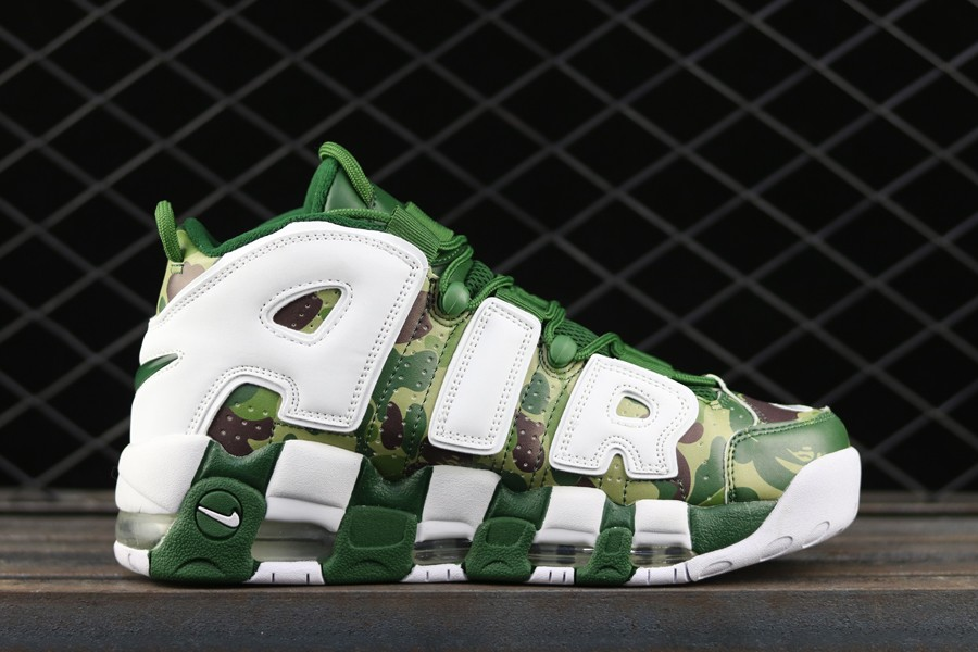 buy online 825b4 c0094 Cheap BAPE x Nike Air More Uptempo 96 Green Camo White For Sale