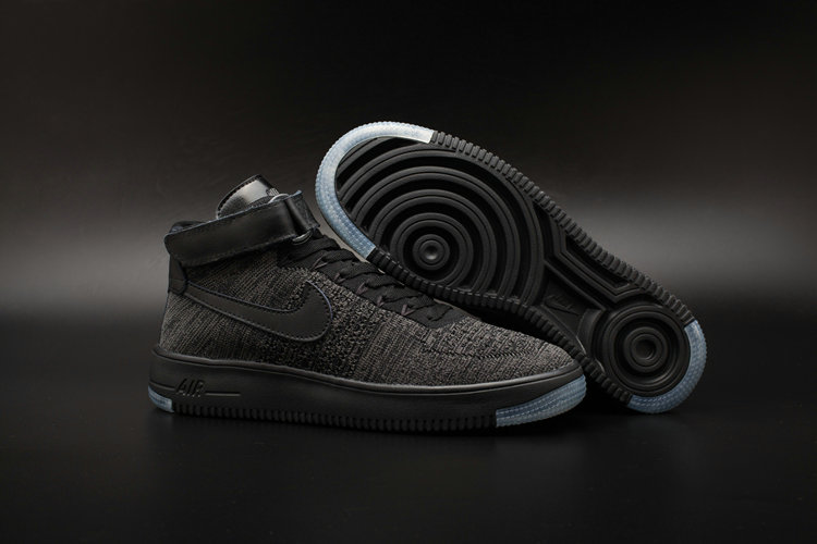 New 2018 Nike AF1 Cheap x Nike Air Force One Ultra Flyknit Mid Black Dark Grey