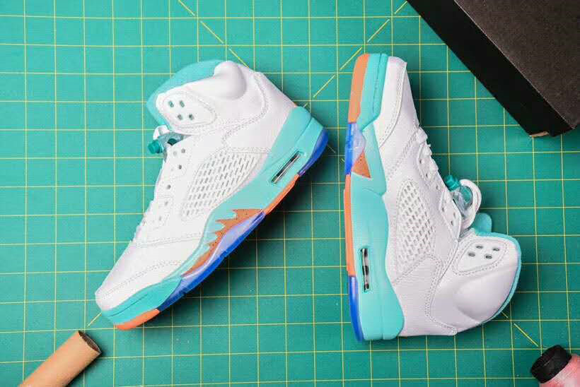 Cheap Nike Air Jordan 5 Retro Basketball Shoes White Apple Green Orange