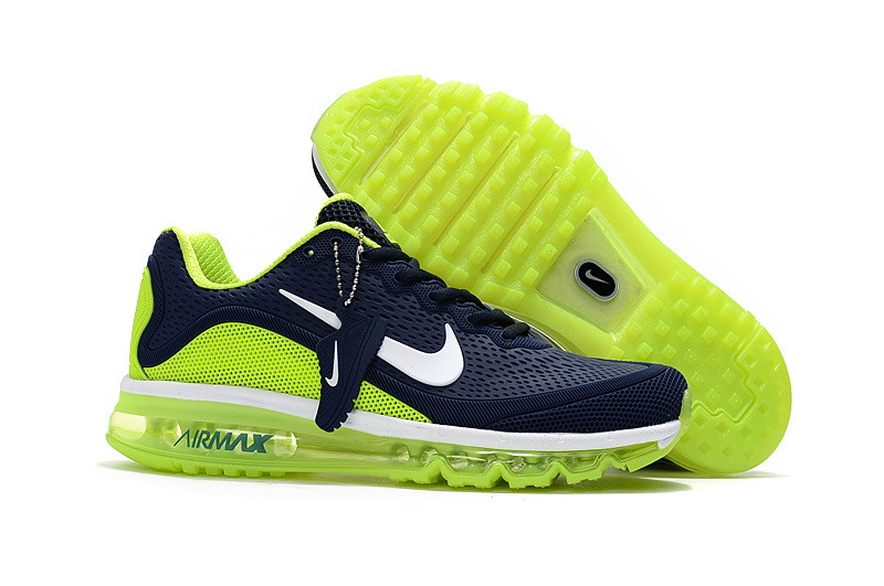 Cheap Nike Air Max 2017 Mens Fluorescent Green Navy Blue Running Shoes