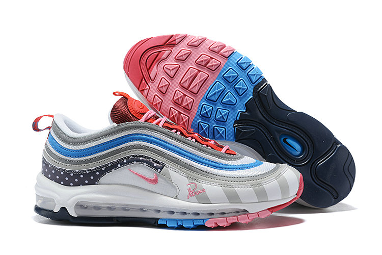 Cheap Nike Air Max 97 Running Shoes White Grey Blue Pink