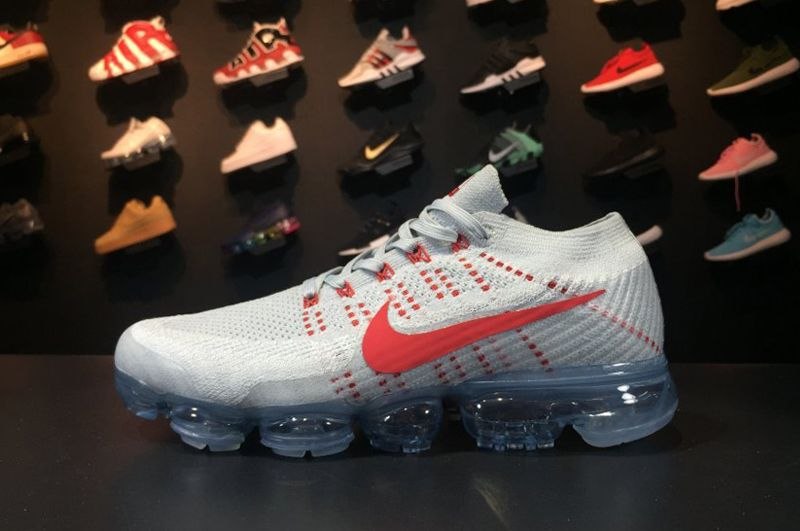 c2d28aca39cb Cheap Nike Air VaporMax Flyknit Pure Platinum University Red-Wolf Grey 2017  For Sale