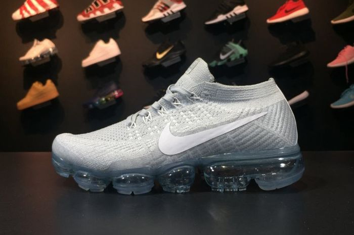 c2045d36796bf Cheap Nike Air VaporMax Flyknit Pure Platinum White-Wolf Grey 2017 For Sale