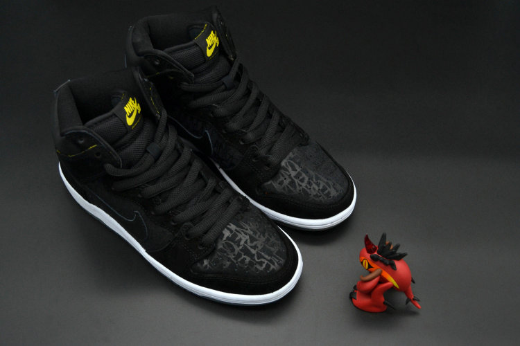 Cheap Nike Dunk SB High NikeFace Black White Yellow Cheap