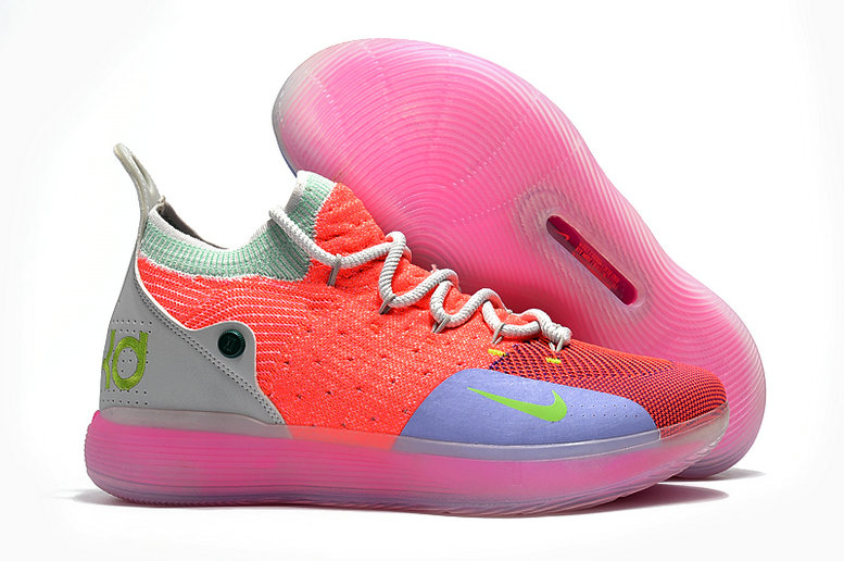 Cheap Nike KD 11 For Kids Pink Grey Green Purple