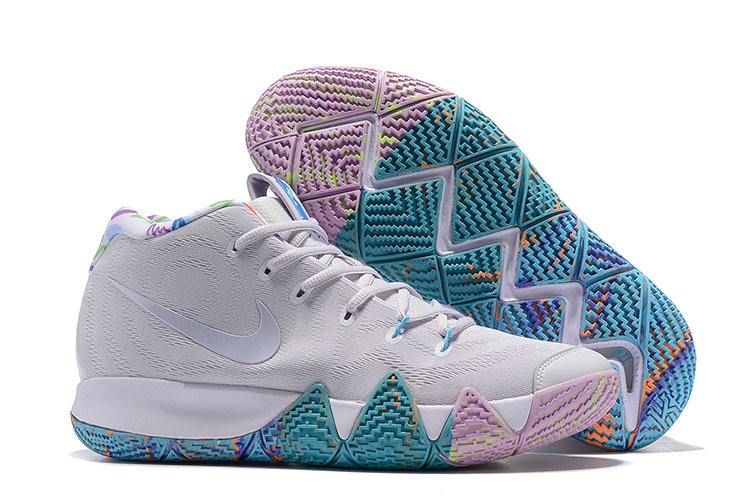 Cheap Nike Kyrie 4 Irving Basketball Shoes Bright Grey Pure Purple Jade