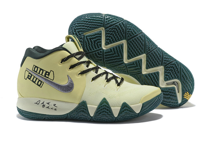 Cheap Nike Kyrie 4 Irving Basketball Shoes Rice Yellow Black Silver Grey