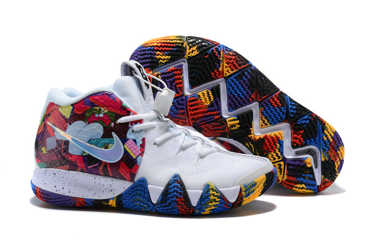 Cheap Nike Kyrie 4 Irving Basketball Shoes White Flower