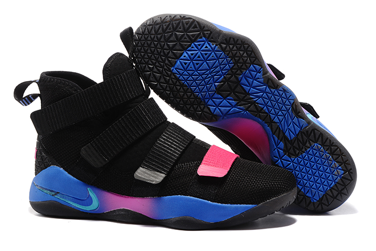 Cheap Nike LeBron Soldier 11 Black Blue Pink For Sale