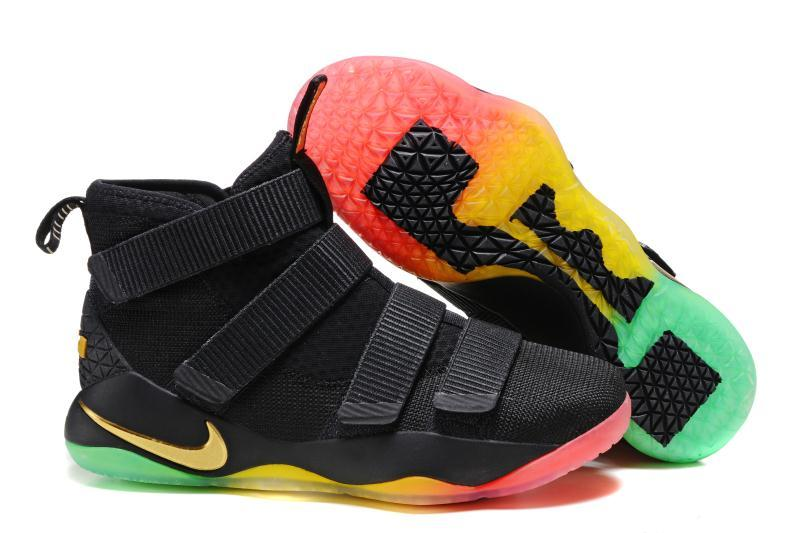 Cheap Nike LeBron Soldier 11 Black Gold Rainbow Basketball Shoes For Sale