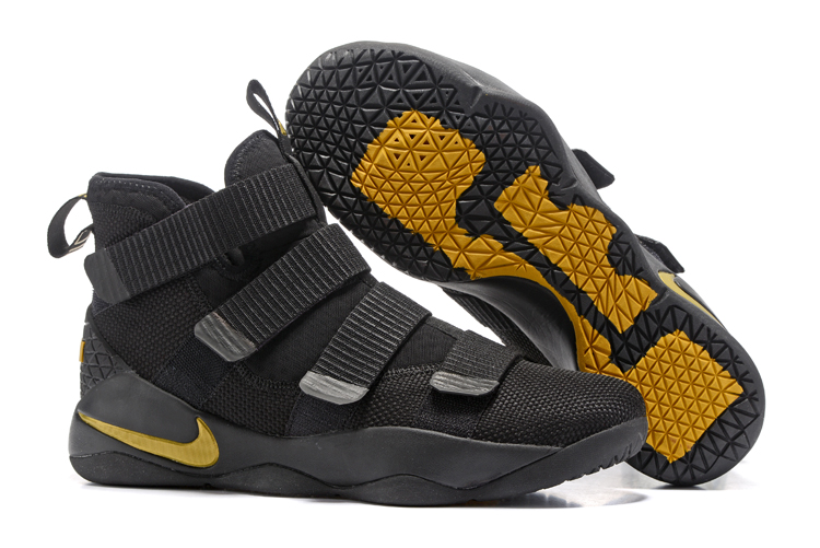 Cheap Nike LeBron Soldier 11 Black Golden Yellow For Sale