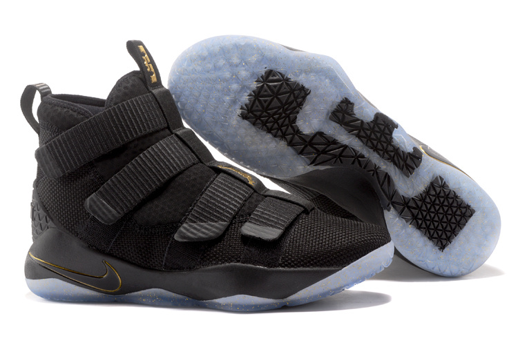 Cheap Nike LeBron Soldier 11 Black Metallic Gold For Sale
