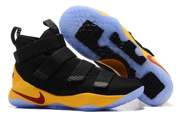 Cheap Nike LeBron Soldier 11 Black Yellow-Team Red For Sale