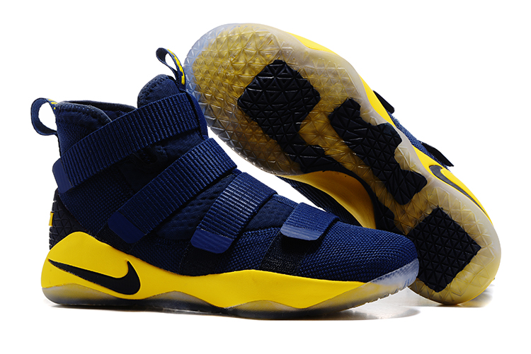 Cheap Nike LeBron Soldier 11 Navy Blue Yellow-Black For Sale