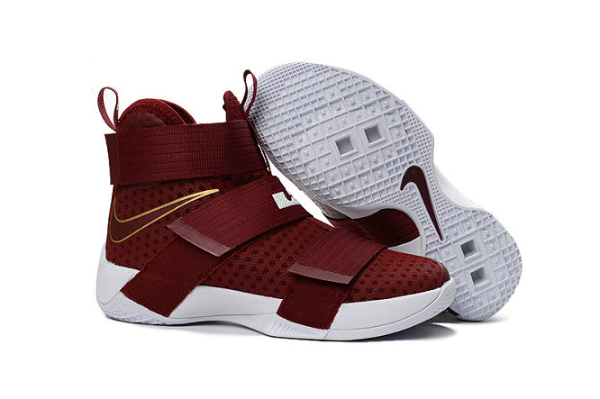Cheap Nike Lebron Soldier 10 X Gold Wine Red White