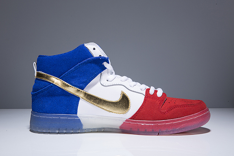 Cheap Nike SB Dunk High PREM Tricolor White Red Blue For Mens