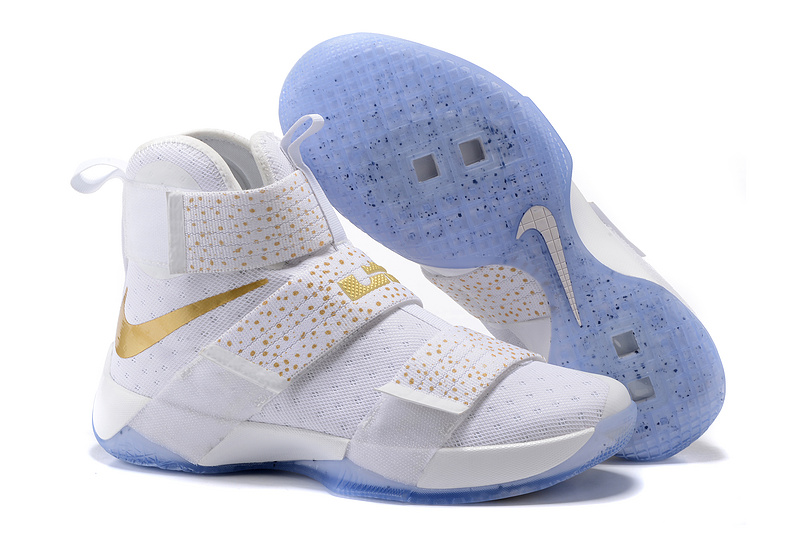 Cheap NikeLebronSoldier 10 Gold White Blue