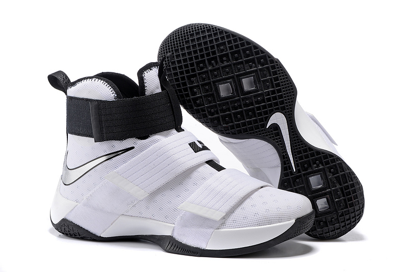 Cheap NikeLebronSoldier 10 White Black Silver