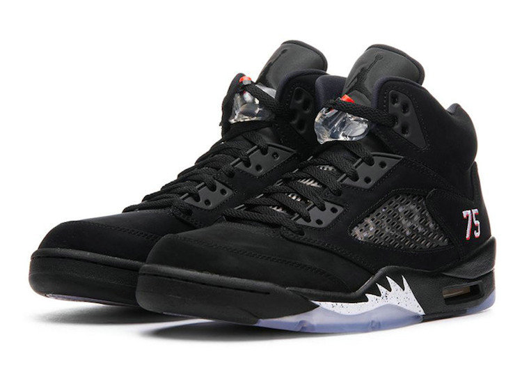 Cheap Nikes Air Jordan 5 Paris Black White-Challenge Red AV9175-001