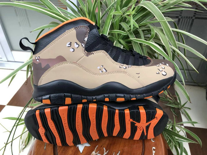 Cheap Nikes Air Jordans 10 Desert Camo Rattan Black-Black-Dusted Clay 310805-200