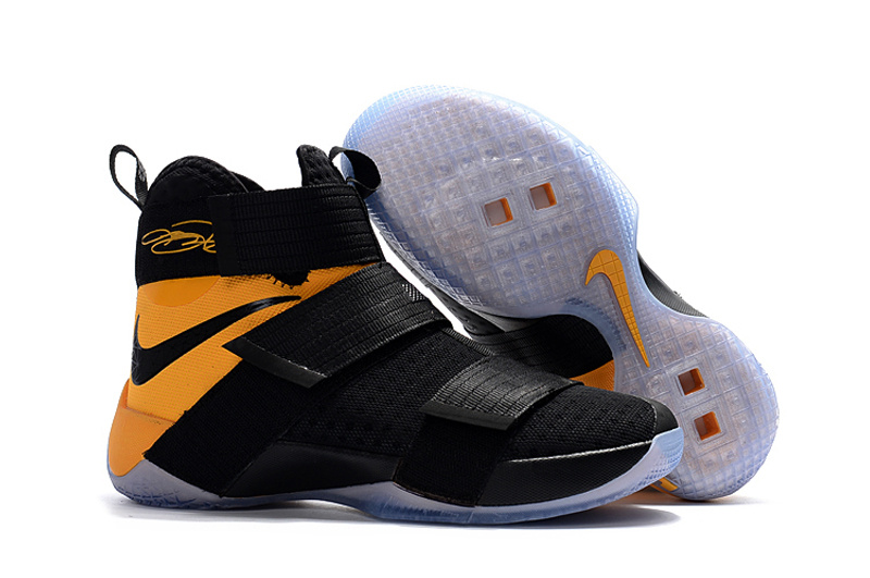 Cheap Sale Nike Lebron Soldier 10 Yellow Black White