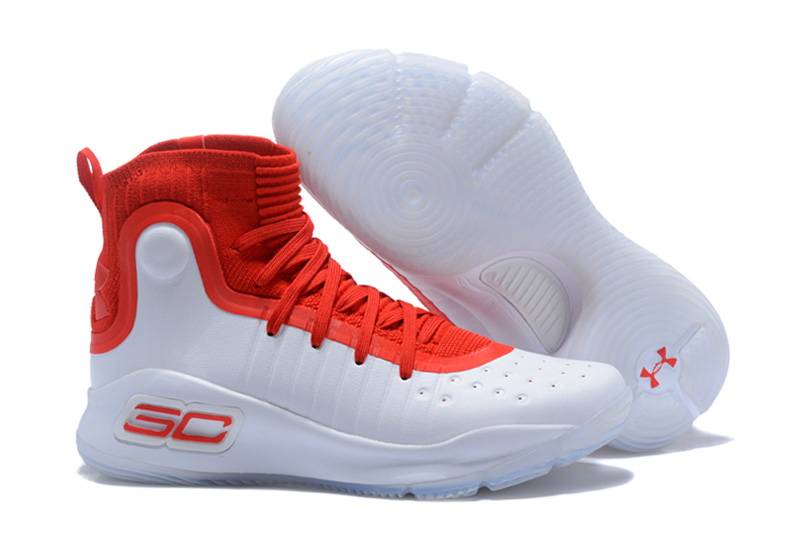 newest b563d 2893f Cheap UA Curry 4 White University Red Basketball Shoes For Sale ...