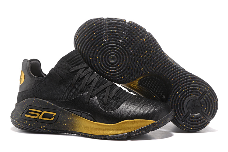 Cheap Under Armour Curry 4 Low GS Black Gold For Sale