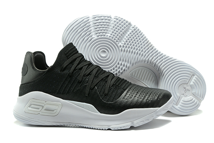 Cheap Under Armour Curry 4 Low GS Black White For Sale