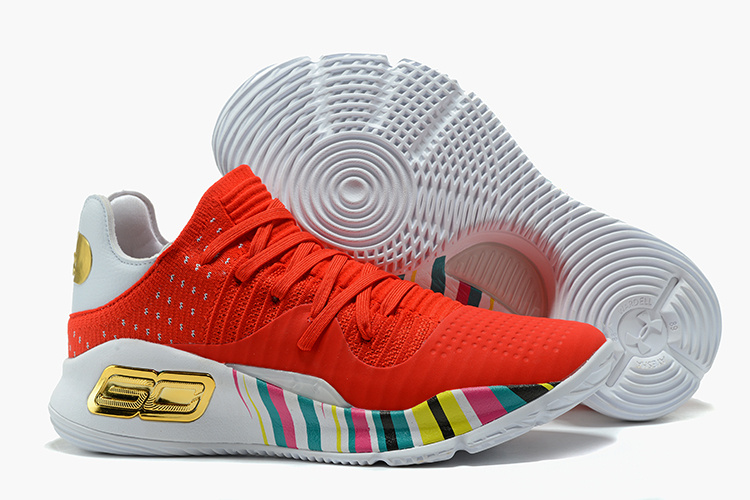 Cheap Under Armour Curry 4 Low GS CNY Red Gold White For Sale