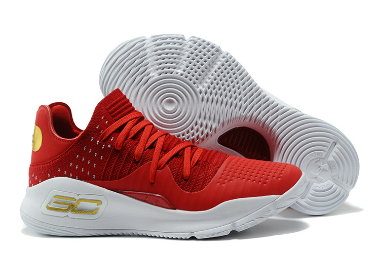 Cheap Under Armour Curry 4 Low GS Wine Red White For Sale