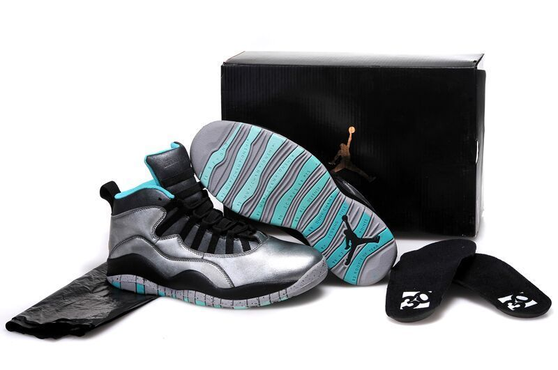 Girls Air Jordan 10 Lady Liberty Cement Grey Black-Tropical Teal Remastered