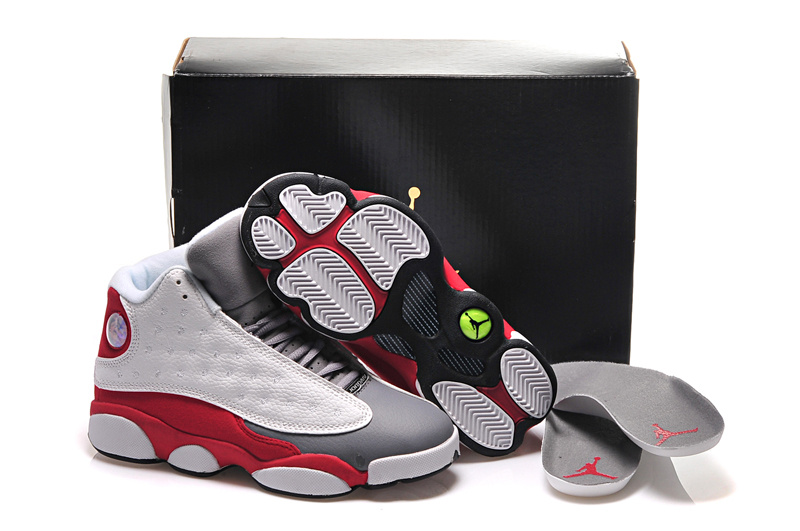 Girls Air Jordan 13 Retro Cement Grey White Black-True Red-Cement Grey For Sale