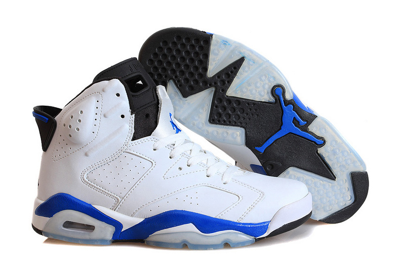 Girls Air Jordans 6 Retro Sport Blue White Sport Blue-Black For Sale