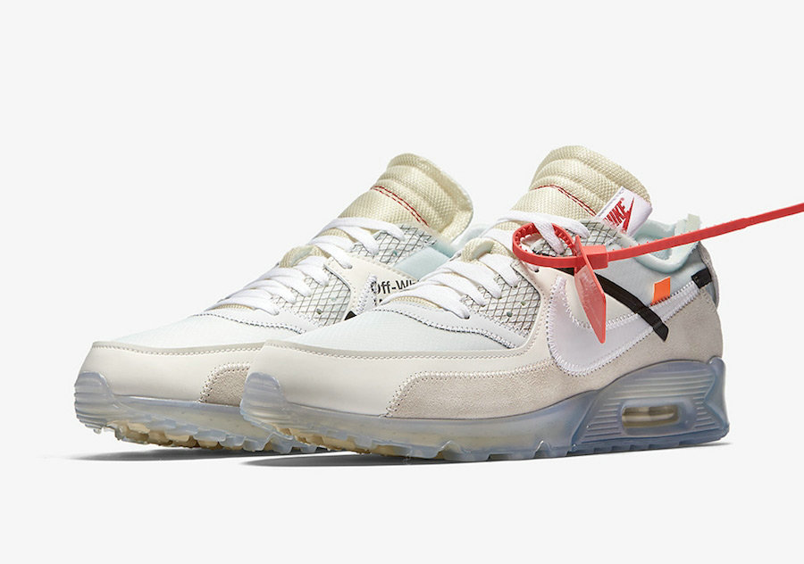 Girls OFF-WHITE x Nike Air Max 90 Sail White-MuslinAA7293-100