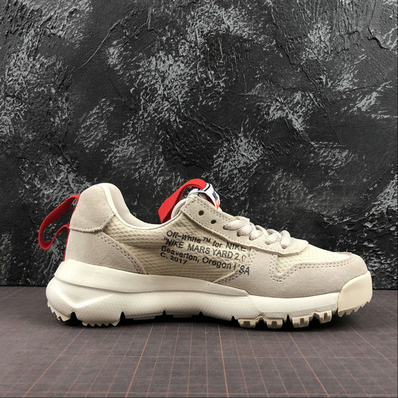 Girls OFF-White X Nike Craft Mars Yard TS NASA 2.0 Beige Red Rouge AA2261-100