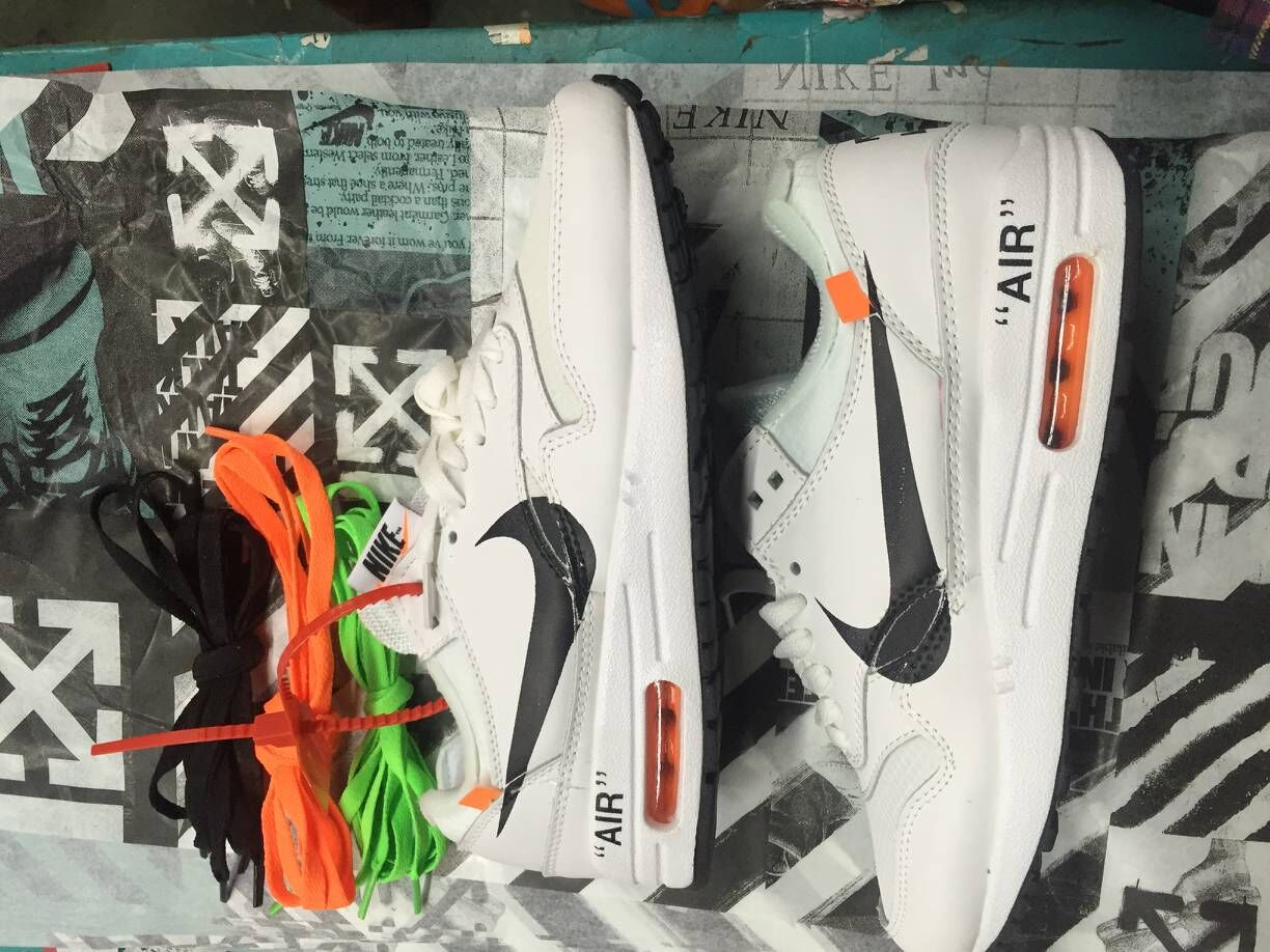 Girls Off-White x Nike Air Max 87 1 White Black Team Orange