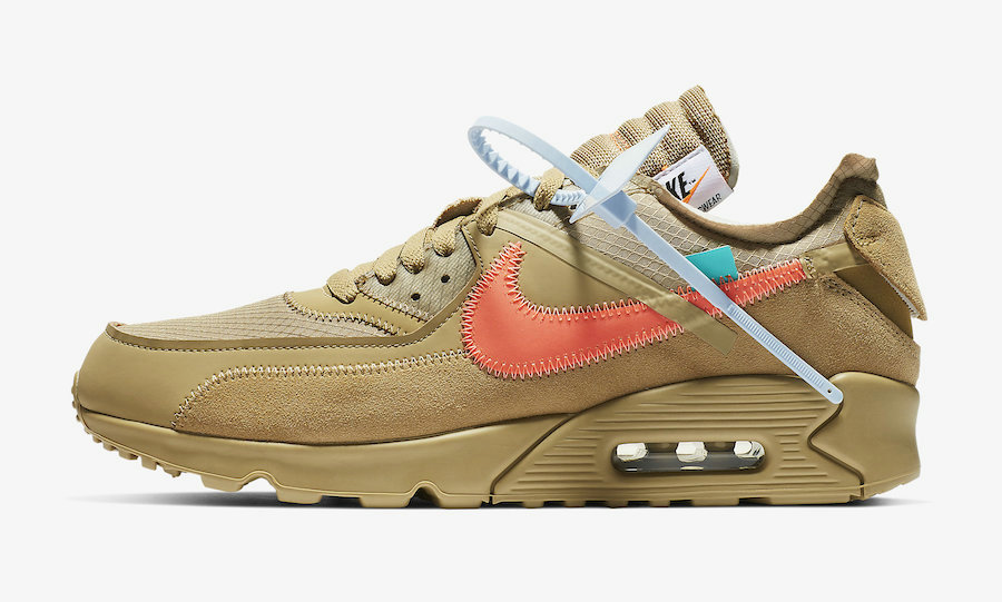 Girls Off-White x Nike Air Max 90 Desert Ore-Desert Ore-Hyper Jade-Bright Mango AA7293-200