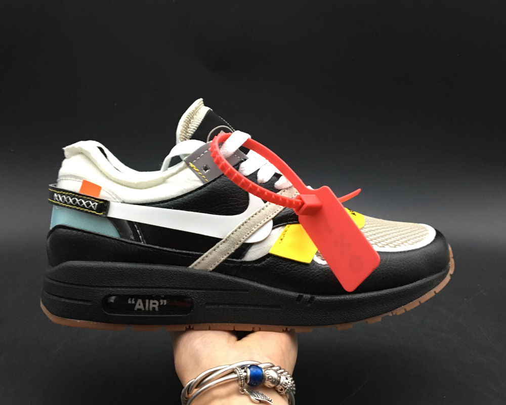 Girls Virgil Abloh x BespokeIND Create Off-White X Nike Air Max 1s Black Leather